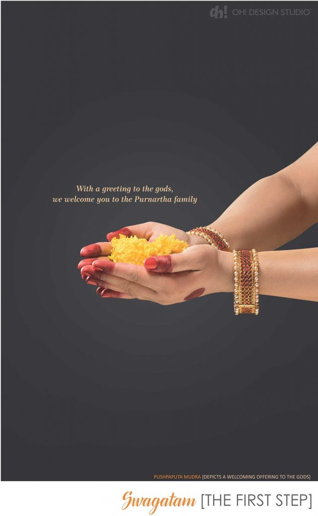 corporate brochure design- WELCOME to start the investment journey shown by using Pushpaputa mudra