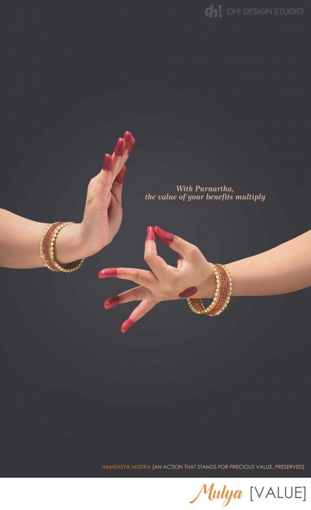 Hamsasya mudra to show investment value increase in corporate brochure by oh design studio