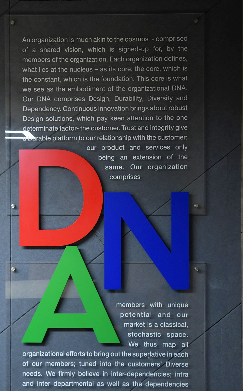 closer look: company DNA installation for workplace branding