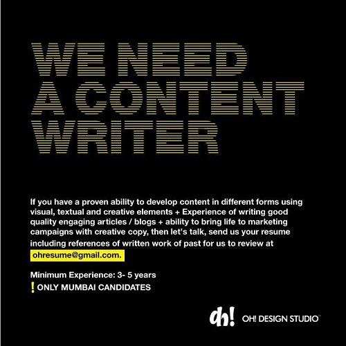 copy and content writer job mumbai